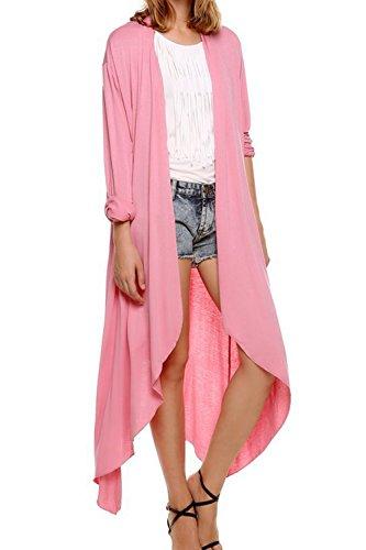 Las Mujeres Sueltas Knit Cardigan Manga Larga Abierta Frente Irregular Pink