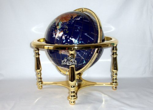 Gemstone Map - Unique Art 13-Inch by 9-Inch Blue Lapis Ocean Table Top Gemstone World Globe with Gold Tripod