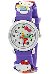 TimerMall Lovely Hello Kitty Circle Dial Purple Rubber Strap Quartz Kids Watches