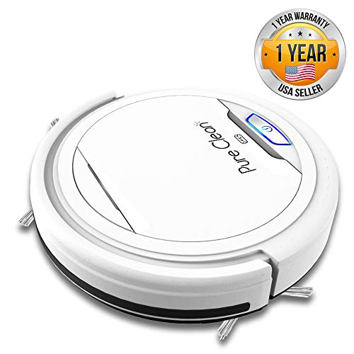 PUCRC25 Automatic Robot Vacuum Cleaner - Upgraded Robotic Auto Home Cleaning for Clean Carpet Hardwood Floor - Bot Self Detects Stairs - Pet Hair Allergies Friendly Filter - Pure Clean