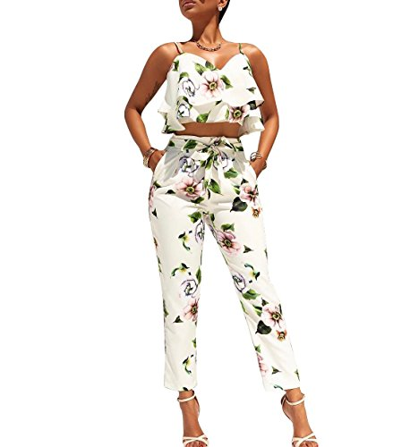Luluka Women's Spaghetti Strap Crop Top and Long Pants 2 Piece Jumpsuits Rompers Outfit