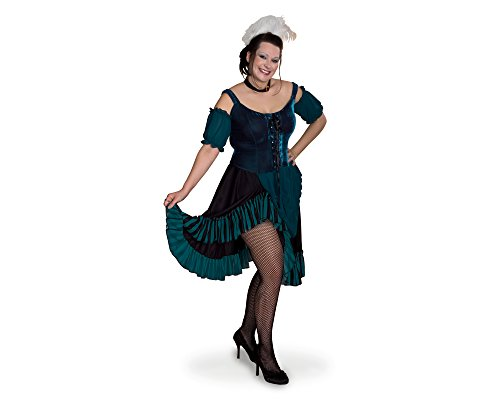 Plus Size Saloon Girl Costumes (Sunnywood Women's Plus-Size Lava Diva Saloon Girl, Green/Black, XX-Large)