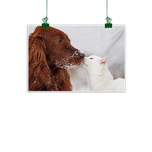 (Anzhutwelve Winter,Art Prints Irish Setter and Cute White Cat in Snow Kissing Friendship Love Romance Unframed Art Dark Orange White Beige W 36