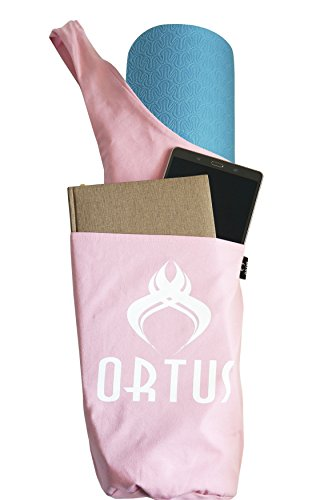Premium Yoga Mat Bag by ORTUS, Cotton Yoga Exercise Mat Tote Bags Sling Carrier With Large Side Pocket & Zipper Pocket, Large & Fitting All Standard Size Yoga Mats & Yoga Accessories (5 COLORS)