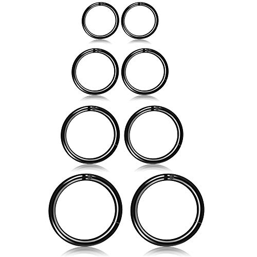 Thunaraz 3-4Pairs Stainless Steel 16G Sleeper Earrings Septum Clicker Nose Lip Ring Body Piercing (I:4Pairs Black - Earring Steel 16g Piercing