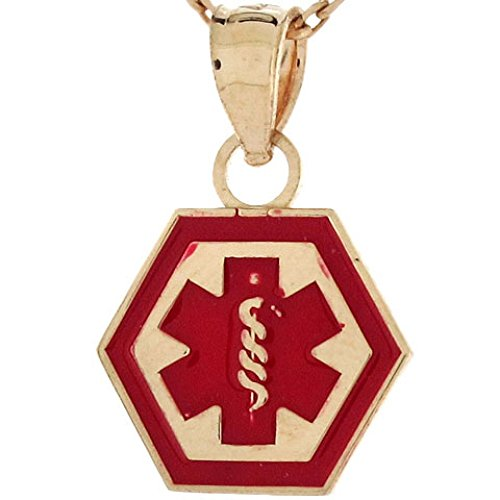 (Jewelry Liquidation 10k Real Gold Medical Alert Red Enamel 1.1cm Charm Pendant )