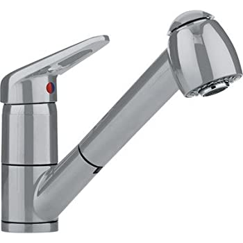 Franke FF2280 Single Loop Handle Pull Out Spray Kitchen Faucet, Satin Nickel