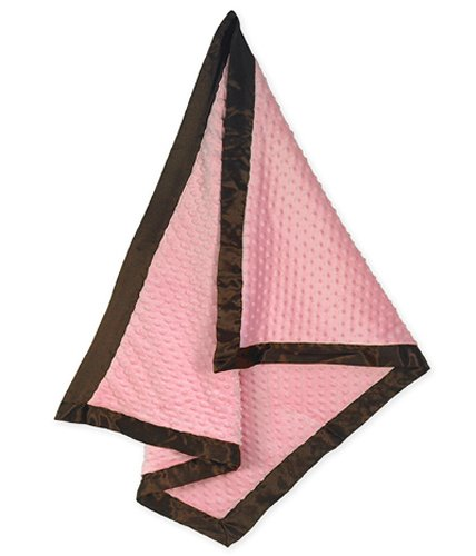 Sweet Jojo Designs Designer Super Soft Minky and Satin Blanket - Pink and Brown Minky Dot