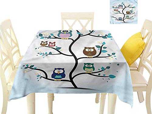 WilliamsDecor Printed Tablecloth Owl,Night Animal Owl Love Jacquard Tablecloth W 60