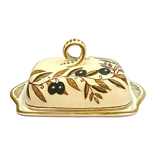 - CERAMICHE D'ARTE PARRINI- Italian Ceramic Butter Dish Hand Painted Decorated Country Made in ITALY Tuscan Art Pottery