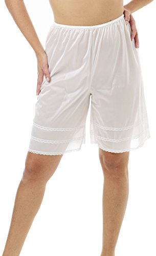 Underworks Snip-A-Length Pettipants Culotte Slip Bloomers Split Skirt 2X-Large-White