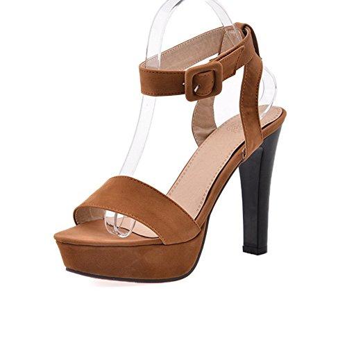 Balamasa Da Donna Open Toe Stile Europeo Sandali Sabbiati Marrone