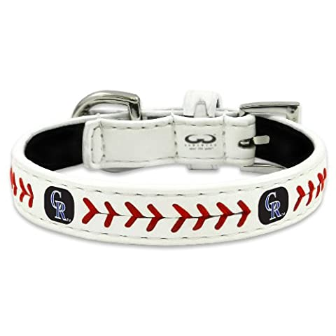 MLB Colorado Rockies Classic Leather Baseball Dog Collar (Small) - Gamewear Sports Bracelet