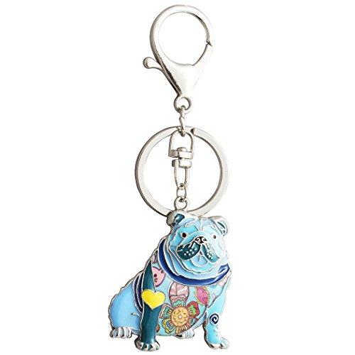 Luckeyui Unique English Bulldog Gifts Keychain for Women Girls Cute Blue Enamel Animal Keyring by Luckeyui (Image #1)