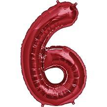 "NorthStar 00120 Number 6 Foil Mylar Balloon, 34"", Red"