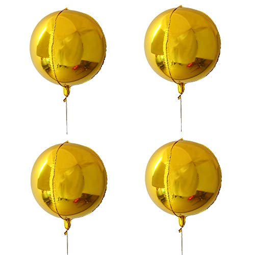 (4 Count 18'' Gold 4D Large Round Sphere Shaped Aluminum Foil Balloon, Mirror Metallic Gold Balloon, Birthday Party, Wedding, Baby Shower, Marriage Decor Supplies (Gold))