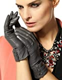 Warmen Women's Touchscreen Texting Driving Winter Warm Nappa Leather Gloves - 7.5 (US Standard size) - Grey (Touchscreen Function/Cashmere Lining)