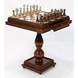 Cambor Italian Made Game Table w Inlaid Alabaster Top & 2 Drawers