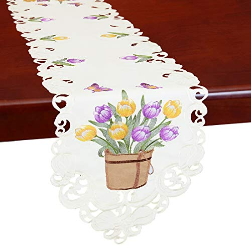 Simhomsen Embroidered Tulip and Butterfly Table Runners, Spring Floral Table Decorations for Easters (13 × 68 Inch)]()