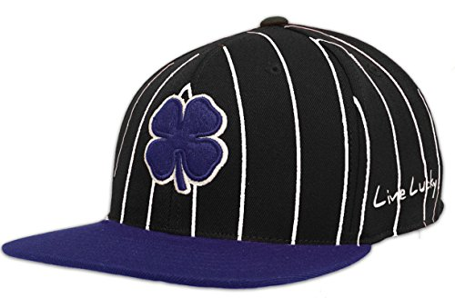 Clover Stripe (Black Clover Lucky Stripe Flat Bill Fitted Golf Hat, Black/Blue Small/Medium)