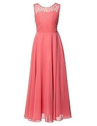 FAIRY COUPLE Girl's Illusion Neckline Lace Chiffon Wedding Party Dress K0208