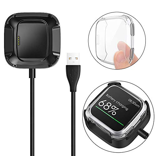 KIMILAR Screen Protector Case Charger Compatible Fitbit Versa Smartwatch, TPU Plated Full Coverage Bumper Replacement case Unique Charger Dock Charging Cable (Charge with Case On) Clear
