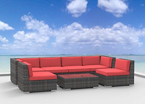UrbanFurnishing.net 7b coralred6 oahu Patio Furniture, 7 Piece Set/Coral Red