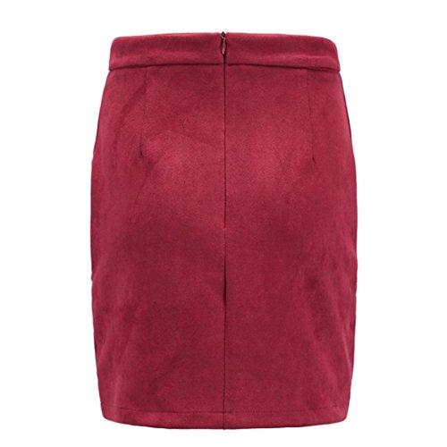Jupe Crayon Sud pour Sixcup Bodycon lac Jupe Robe Automne Hiver Mini Sexy Daim Courte Femme Robe Mini Rouge Automne Taille Haute OxPwPtqAE