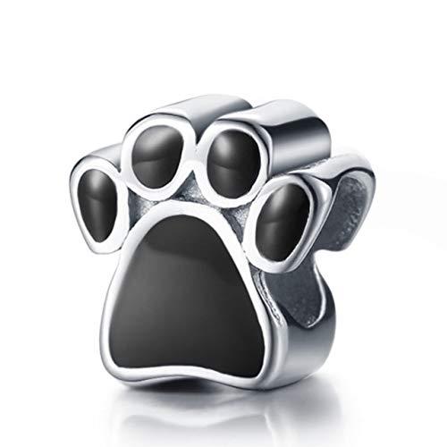 Calvas QGGLE Princess Dog Paw Note Drum Heart Seashell Train Rugby Charm & Bead Fit Bangles & Bracelets DIY Jewelry - (Color: Dog Paw)