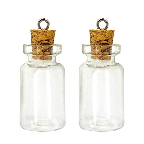 LEFV 50 Mini Glass Bottles 1-inch Message Treasure Charm Pendant Kit Makes Bottle Pendants 1ml Clear Vials with Corks & 50pcs Eye Screws - Miniature Empty Sample Jars