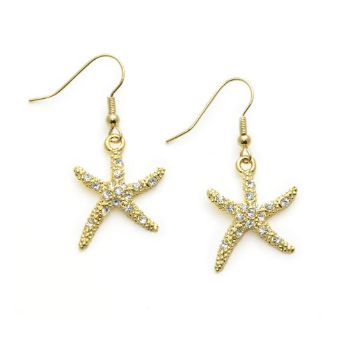 Gold Starfish Earrings (PammyJ Goldtone Clear Rhinestone Starfish Dangle Earrings)