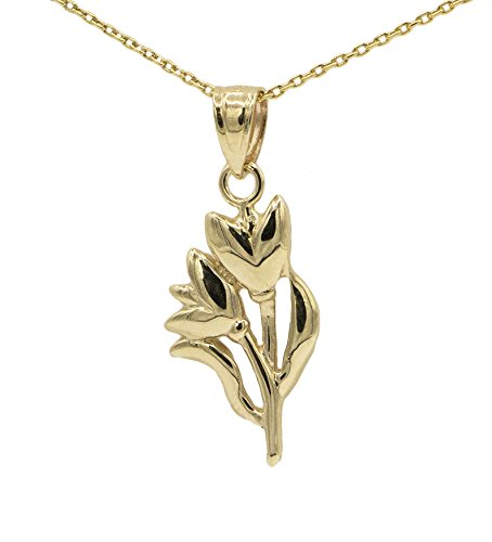 Ice on Fire Jewelry 14k Yellow Gold Tulip Pendant Necklace (No Chain)