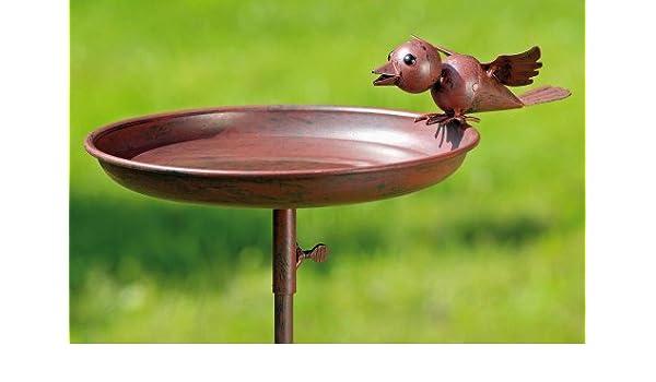 Bebedero para pájaros, las aves en jardín Tab de hierro envejecido, 27 cm x 27 cm x 120 cm aprox: Amazon.es: Hogar