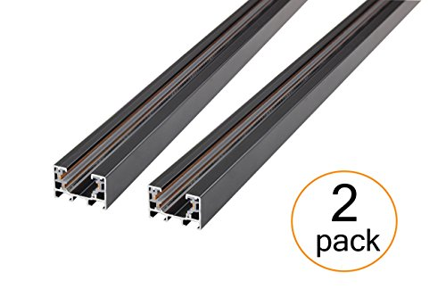 J.LUMI RAL3002 track light rails, 3-wire single circuit track rails, black paint finish, 3-ft per section (Pack of 2 Sections), compatible w/ TRK9000 TRK9601 track (Light Rail Track)