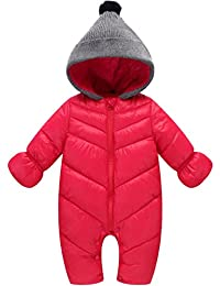 cd29c113ba94 Baby Girls Boys One Piece Front Zippers Button Winter Down Jacket Romper  Jumpsuit