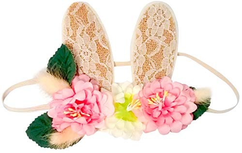 Diadema para bebé y niña, Diadema orejas de conejo con corona de flores para bebé recién nacida ó niña, Cinta con banda...