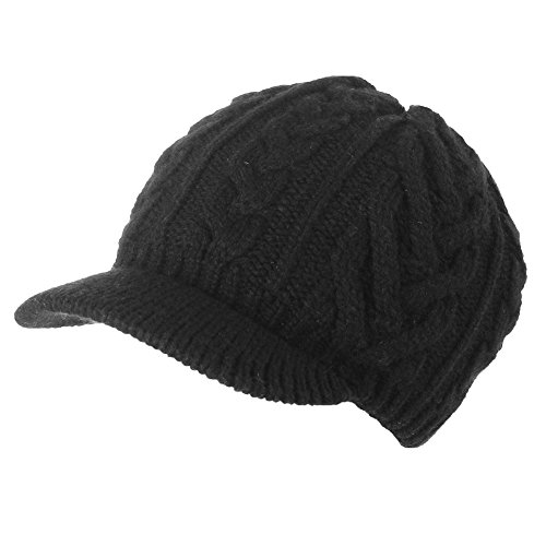100% Wool Knitted Visor Beanie with Brim Cold Weather Winter Hat for Women Newsboy Cap Black SIGGI (Fleece Beanie Visor)
