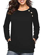 Martiount Damen Casual Langarm/Kurzarm Button-Down T-Shirt Rundhals Bluse Einfarbig Tunika Tops mit Taschen