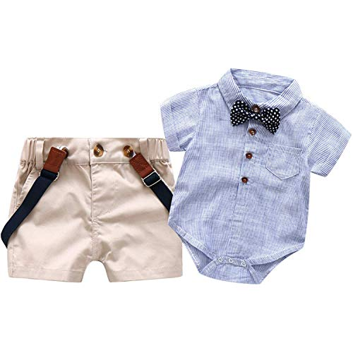 Bib Pants Shirt (Baby Boys Short Sleeve Gentleman Outfits Suits Infant Overalls Clothing Set Blue Shirt+Bib Pants+Tie (0-3 Years))