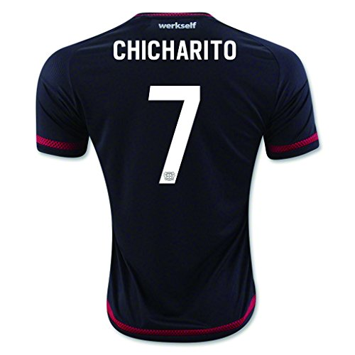 fan products of Black #7 Chicharito Home Match Football Soccer Adult Jersey 2015-16
