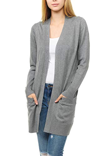 - Womens Light Weight Open Front Long Cardigan with Pocket (Medium, Heather Gray)
