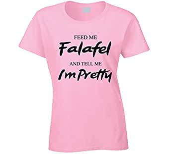 Feed Me Falafel and Tell Me I'm Pretty Fun Essential Food Lover T Shirt S Light Pink