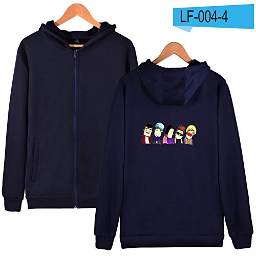 Korean Hip Hop Bigbang Hooded Men Hoodies Sweatshirts Zipper Kpop Popular GD T.O.P Long Hoodies Men Winter Fashion Clothes,Navy Blue,XXL