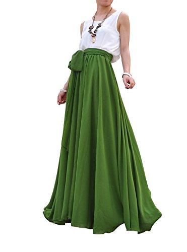 Skirt Avocado - MELANSAY Women's Beatiful Bow Tie Summer Beach Chiffon High Waist Maxi Skirt XL,Avocado