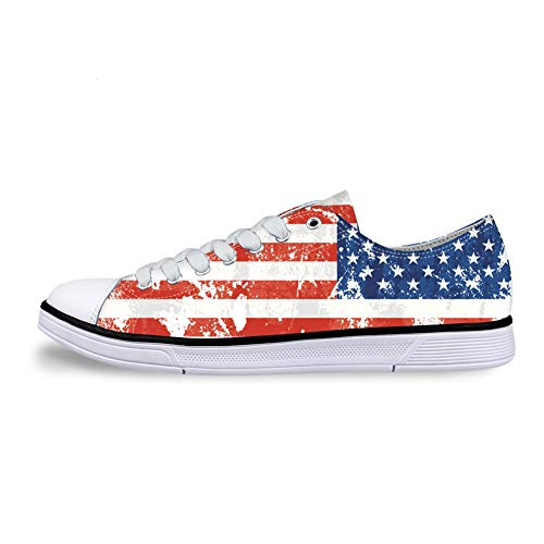 Casual Sneakers 3D Printed American Flag Pattern for Women Canvas Flat Shoes for Men. -