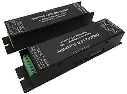 DMX LED Controller with Display Digital Tube DMX512 Decoder Driver Dimmer DC 12 24V 4x4A for RGBW LED Strip Lights (4 -