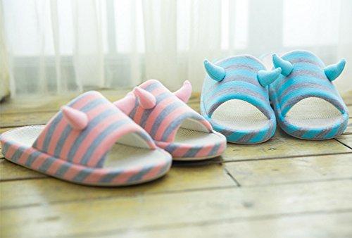 VWU Unisex Lovers Couple Horn Slide Slippers Women Men Anti Slip Stripes Cotton Linen Flax Indoor House Slippers Orange WZabqwTw0H
