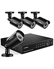 FLOUREON 8CH Security Camera System True HD 1080P 6-in-1 Video DVR Recorder with 4X HD 1080P XVI Indoor Outdoor Weatherproof CCTV Cameras, Human Detection, Motion Alert, Remote Access No HDD