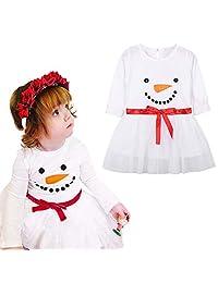 Girls Dress Binmer Kids Christmas Snowman Print Long Sleeves Cotton Tutu Dress