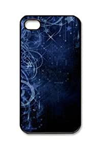 Blue Stars Sky Midnight Iphone 4/4S Black Sides Hard Shell PC Case by eeMuse